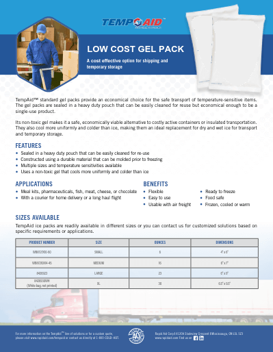 low cost gel pack data sheet cover